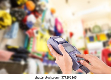 Fake Credit Card : Buy And Sell Products & Service With Clothing Store In Background