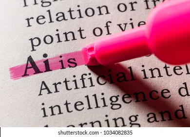 Fake Dictionary, Dictionary definition of the word Ai, Artificial intelligence. including key descriptive words.