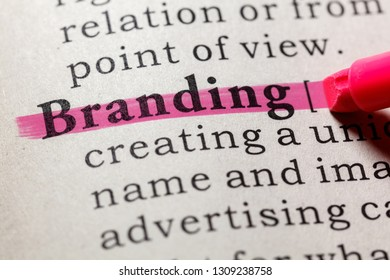 Fake Dictionary, Dictionary definition of the word branding. including key descriptive words.