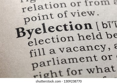 Fake Dictionary, Dictionary definition of the word byelection. including key descriptive words.