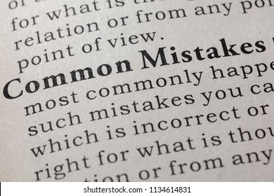 Fake Dictionary, Dictionary definition of the word common mistakes. including key descriptive words.
