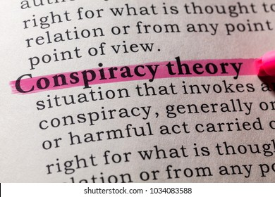 Fake Dictionary, Dictionary definition of the word conspiracy theory. including key descriptive words.