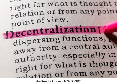 Fake Dictionary, Dictionary definition of the word decentralization. including key descriptive words.