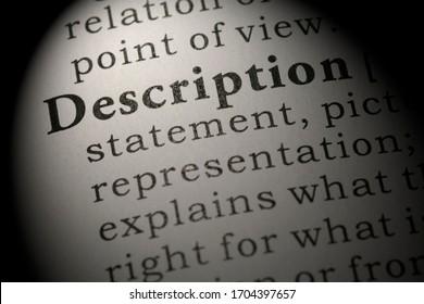 Fake Dictionary, Dictionary definition of word description.