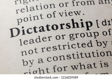 Fake Dictionary, Dictionary definition of the word dictatorship. including key descriptive words.