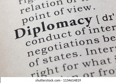 Fake Dictionary, Dictionary definition of the word diplomacy. including key descriptive words.