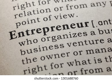 Fake Dictionary, Dictionary definition of the word entrepreneur. including key descriptive words.