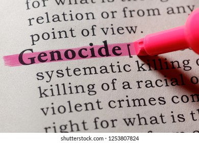 Fake Dictionary, Dictionary definition of the word genocide. including key descriptive words.