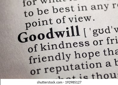 Fake Dictionary, Dictionary definition of the word goodwill.