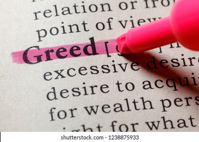 Fake Dictionary, Dictionary definition of the word greed . including key descriptive words.