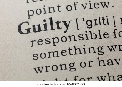 Fake Dictionary, Dictionary definition of the word guilty. including key descriptive words.