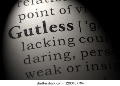 Fake Dictionary, Dictionary definition of the word gutless. including key descriptive words.
