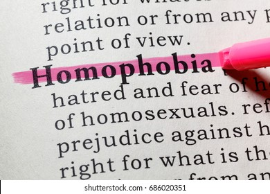 Fake Dictionary, Dictionary definition of the word homophobia. including key descriptive words.