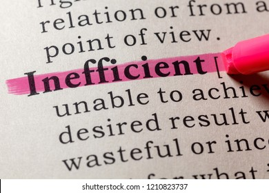 Fake Dictionary, Dictionary definition of the word inefficient. including key descriptive words.