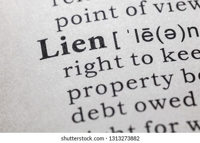 Fake Dictionary, Dictionary definition of the word lien. including key descriptive words.