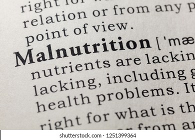 Fake Dictionary, Dictionary definition of the word malnutrition. including key descriptive words.
