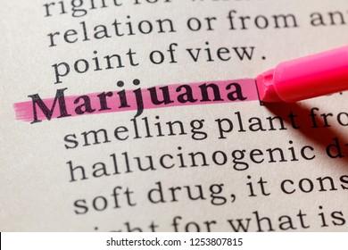 Fake Dictionary, Dictionary definition of the word marijuana. including key descriptive words.