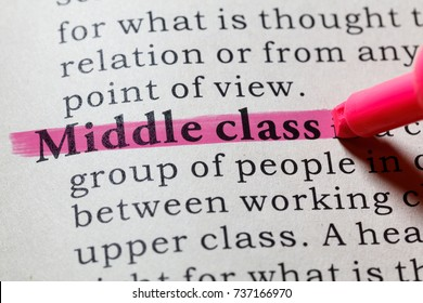Fake Dictionary, Dictionary definition of the word Middle class. including key descriptive words.