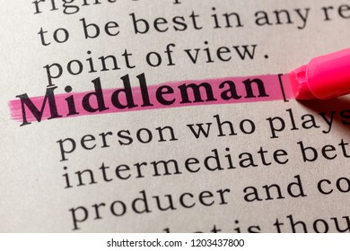 Fake Dictionary, Dictionary definition of the word middleman. including key descriptive words.