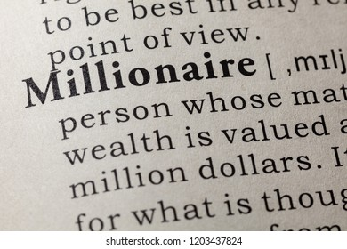 Fake Dictionary, Dictionary definition of the word Millionaire. including key descriptive words.