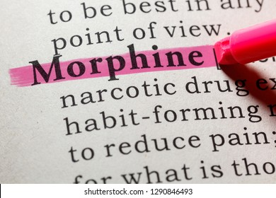 Fake Dictionary, Dictionary definition of the word morphine. including key descriptive words.