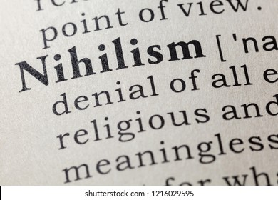 Fake Dictionary, Dictionary definition of the word nihilism. including key descriptive words.