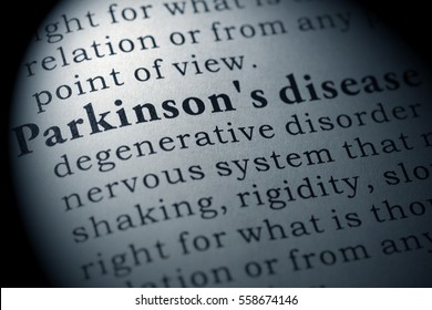 Fake Dictionary, Dictionary definition of the word Parkinson's disease. including key descriptive words.