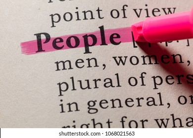 Fake Dictionary, Dictionary definition of the word people. including key descriptive words.