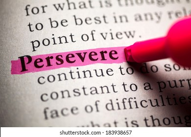Fake Dictionary, definition of the word persevere.