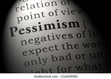 Fake Dictionary, Dictionary definition of the word pessimism. including key descriptive words.