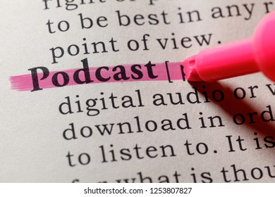 Fake Dictionary, Dictionary definition of the word podcast. including key descriptive words.
