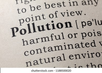 Fake Dictionary, Dictionary definition of the word pollution. including key descriptive words.