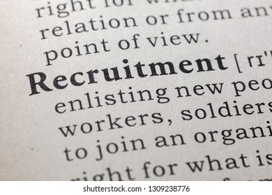 Fake Dictionary, Dictionary definition of the word recruitment. including key descriptive words.