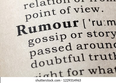 Fake Dictionary, Dictionary definition of the word rumour. including key descriptive words.