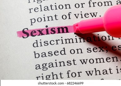 Fake Dictionary, Dictionary definition of the word Sexism. including key descriptive words.