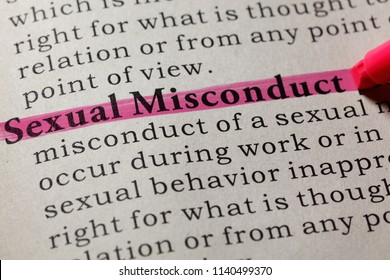 Fake Dictionary, Dictionary definition of the word sexual misconduct. including key descriptive words.