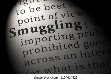 Fake Dictionary, Dictionary definition of the word smuggling. including key descriptive words.