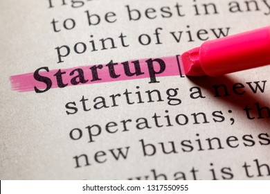 Fake Dictionary, Dictionary definition of the word startup. including key descriptive words.
