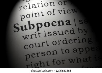 Fake Dictionary, Dictionary definition of the word subpoena. including key descriptive words.