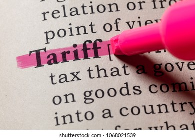 Fake Dictionary, Dictionary definition of the word tariff. including key descriptive words.