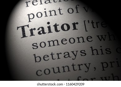 Fake Dictionary, Dictionary definition of the word traitor. including key descriptive words.
