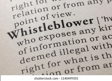Fake Dictionary, Dictionary definition of the word whistleblower. including key descriptive words.