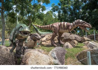 Fake Dinosaurs in Park
