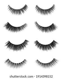 Fake eyelashes set of 4 different types. Faux false lashes isolated on white background