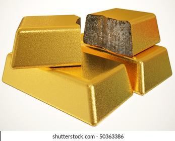 fake gold bars  on white background