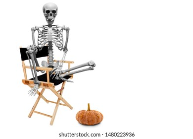 Fake human skeleton sitting on director chair isolated on white background.halloween concept.