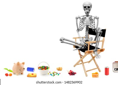 Fake human skeleton sitting on director chair with various items on the floor.halloween concept.