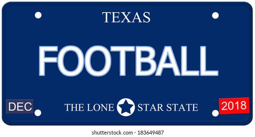 A fake imitation Texas License Plate with the word FOOTBALL and The Lone Star State making a great concept.