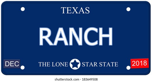 A fake imitation Texas License Plate with the word RANCH and The Lone Star State making a great concept.