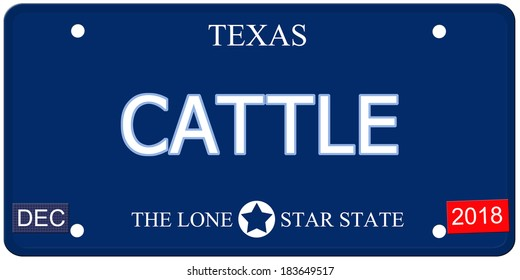 A fake imitation Texas License Plate with the word CATTLE and The Lone Star State making a great concept.